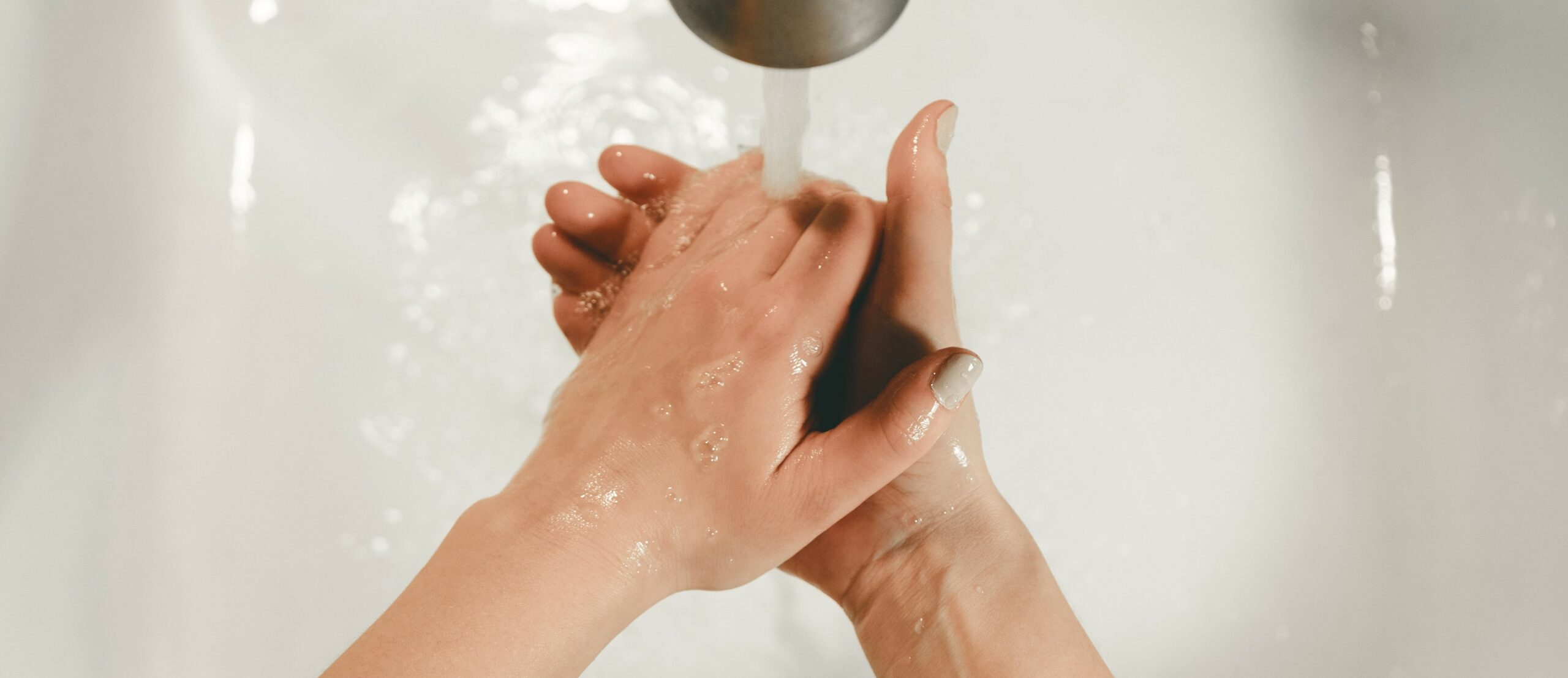hand washing with water